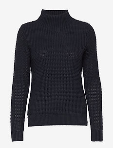 W RACE WAFFLE KNIT POLO - jumpers - navy