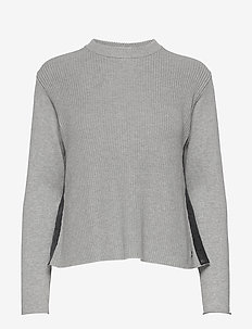 W RACE KNITTED SLIT - dzianinowe - grey melange