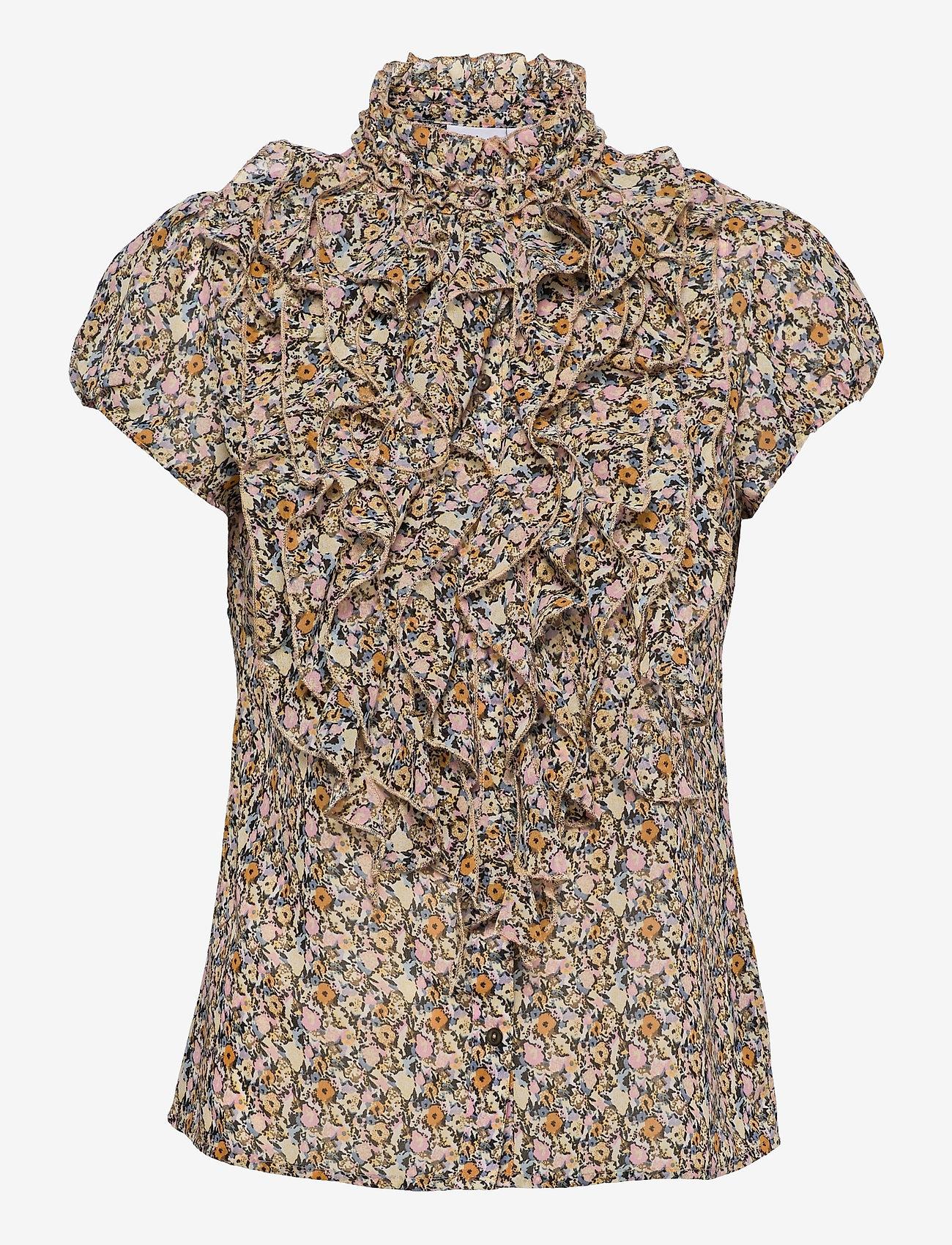 Saint Tropez - LillySZ SS Shirt - kortärmade blusar - bright white optimism florals - 1