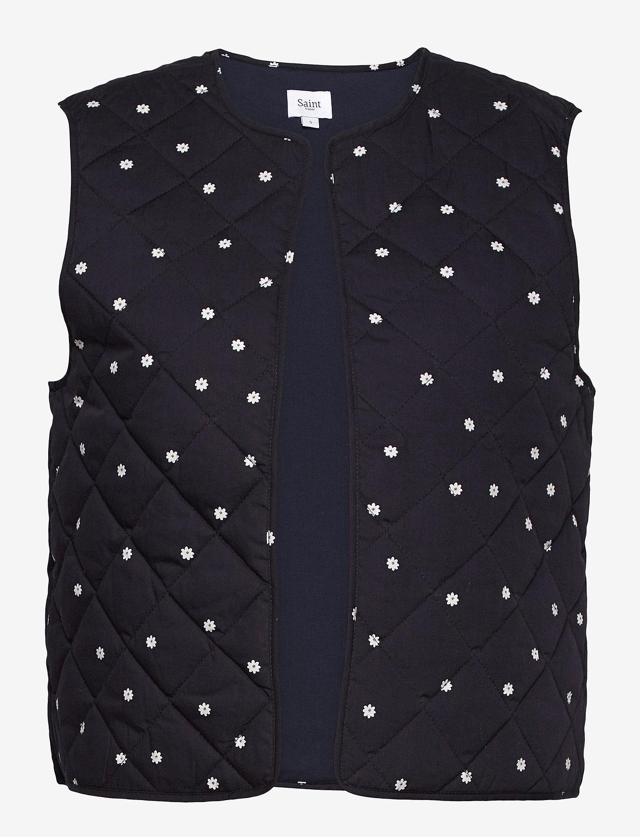 Saint Tropez - EviSZ Quilt Vest - puffer vests - blue deep floral dot - 0
