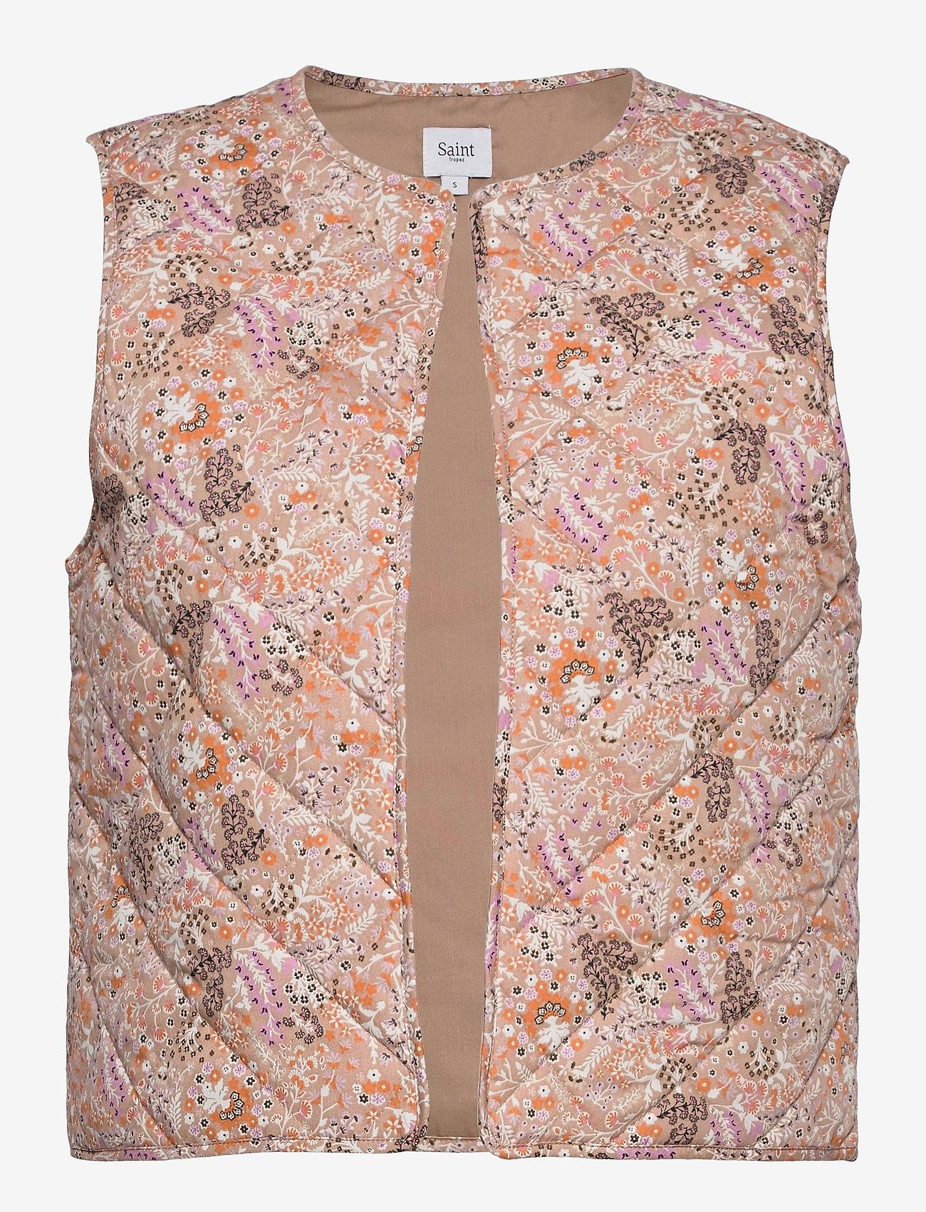 Saint Tropez - EviSZ Quilt Vest - puffer vests - taupe groven paisley - 0