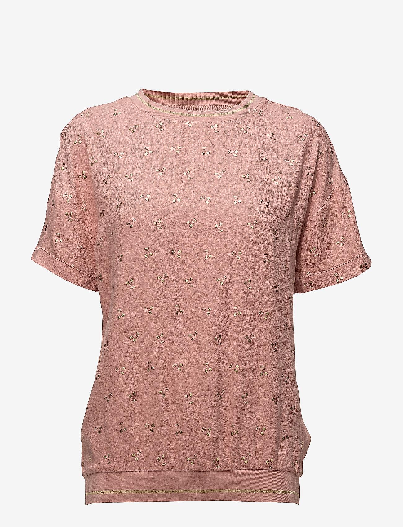Saint Tropez - METALLIC CHERRY PRINT BLOUSE - t-shirts - b. rose