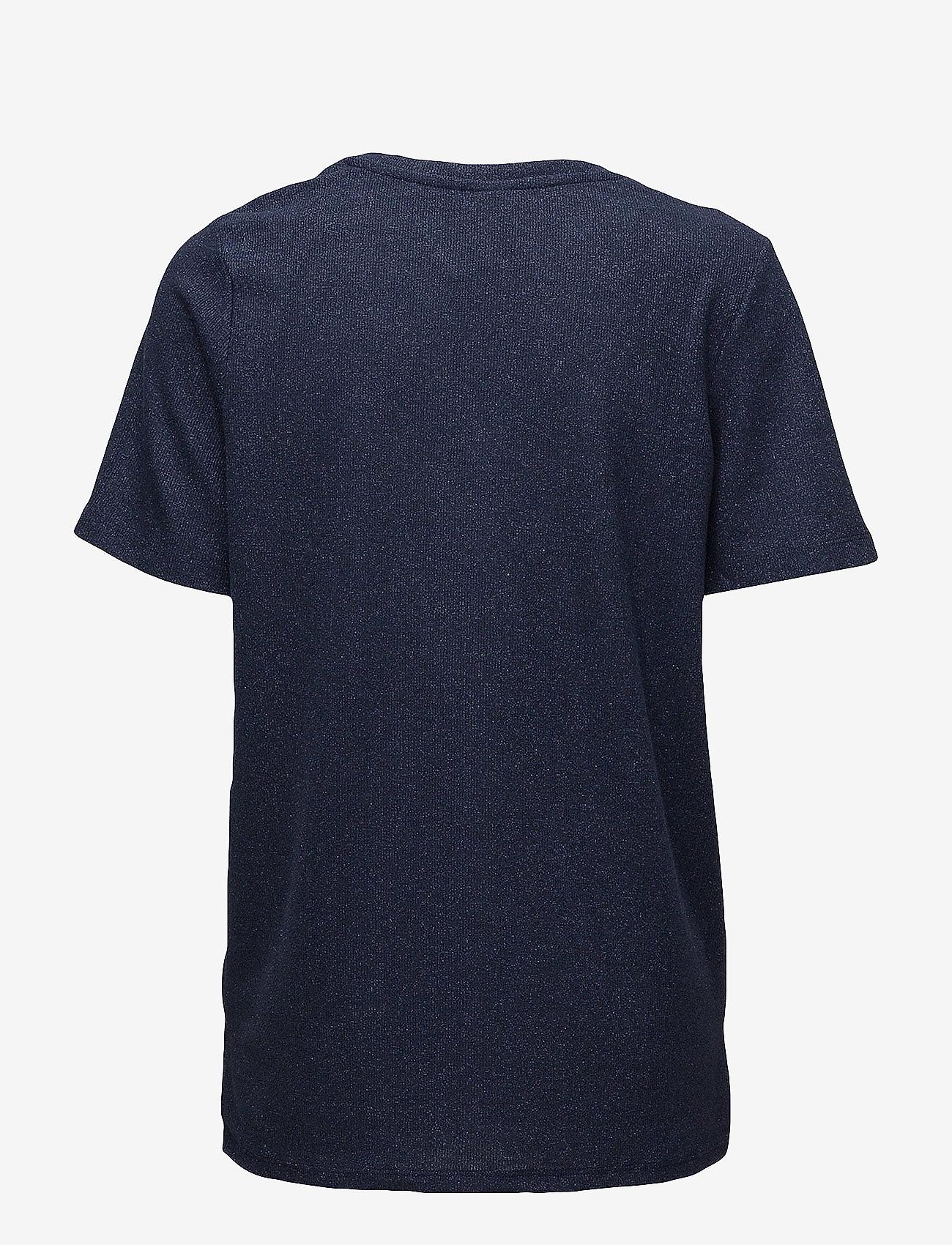Saint Tropez - SHIMMER KNIT TOP W. SLITS - t-shirts - m.indigo