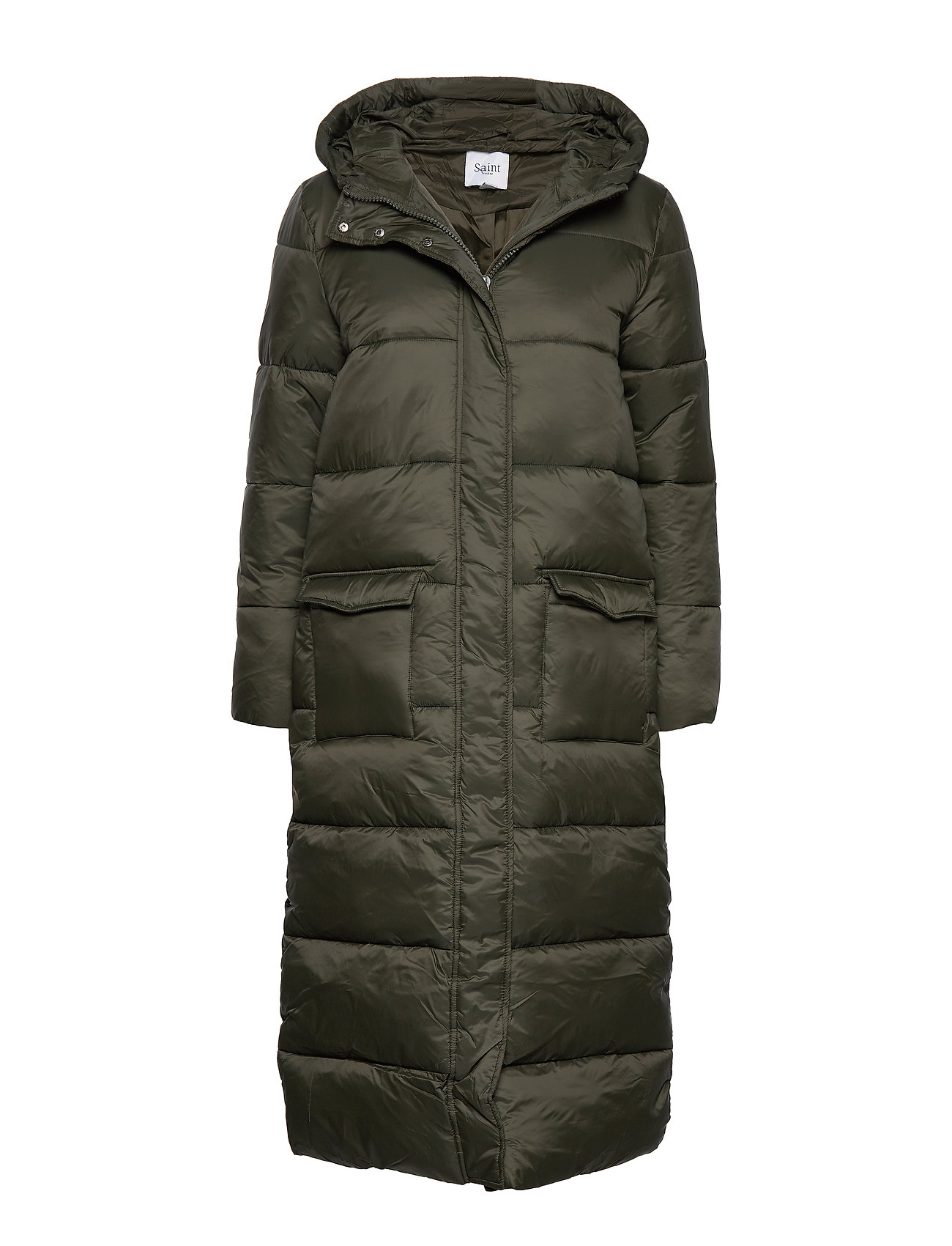 Saint Tropez R7022, LONG PADDED JACKET WITH HOOD - CACTUS