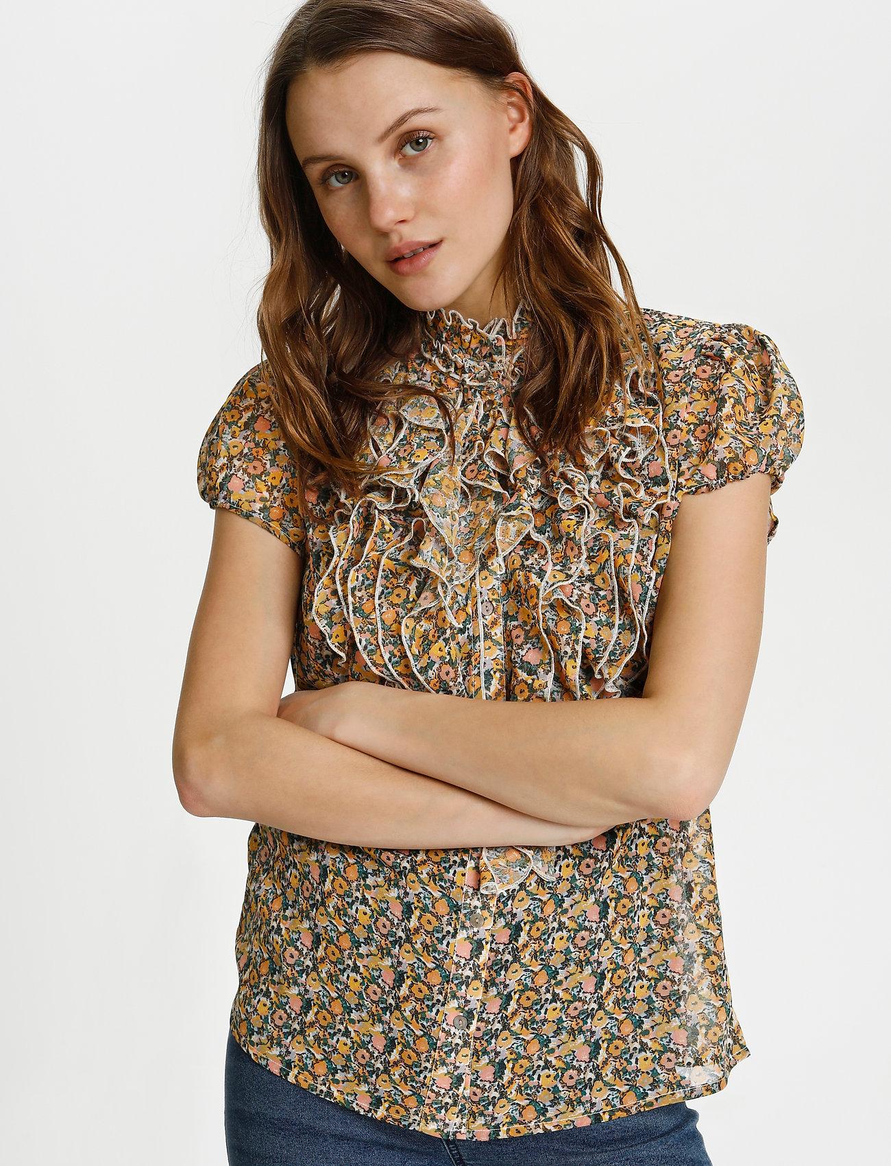 Saint Tropez - LillySZ SS Shirt - kortärmade blusar - bright white optimism florals - 0