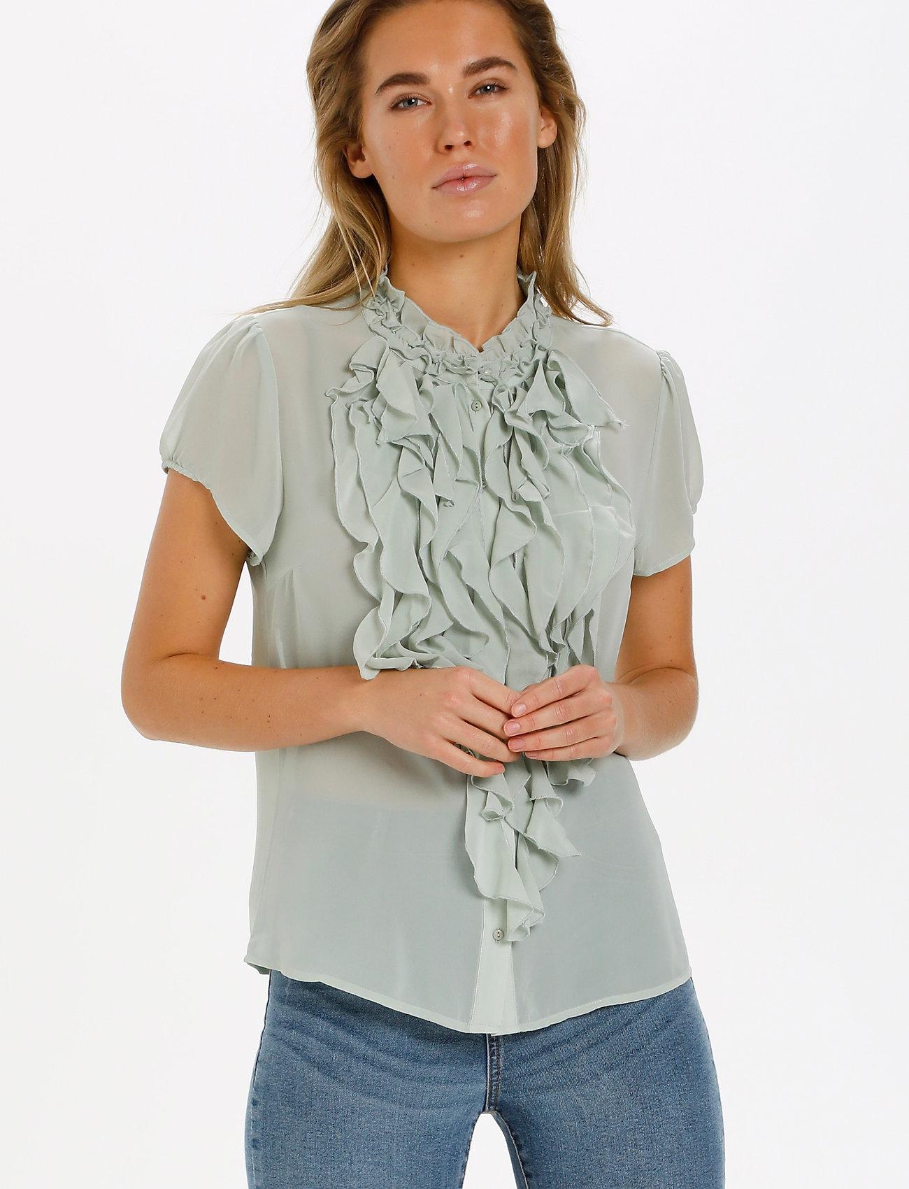 Saint Tropez - LillySZ SS Shirt - kortärmade blusar - desert sage - 0