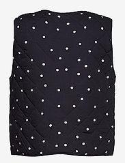 Saint Tropez - EviSZ Quilt Vest - puffer vests - blue deep floral dot - 1