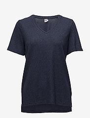 Saint Tropez - SHIMMER KNIT TOP W. SLITS - t-shirts - m.indigo - 0