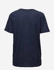 Saint Tropez - SHIMMER KNIT TOP W. SLITS - t-shirts - m.indigo - 1