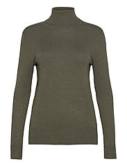 J2046, ROLL NECK SWEATER - ARMY GREEN MELANGE