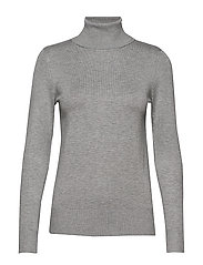 J2046, ROLL NECK SWEATER - PEARL GREY MEL