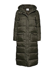 R7022, LONG PADDED JACKET WITH HOOD - CACTUS