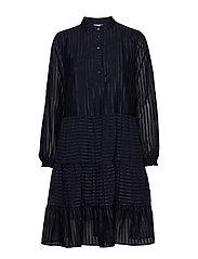 U6055, WOVEN DRESS BELOW KNEE - BL DEEP