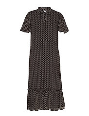 U6114, WOVEN DRESS - MAXI - BLACK