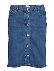 U8013, SKIRT DENIM ABOVE KNEE - MED.BLUE