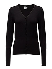 L/S CARDIGAN V-NECK - BLACK