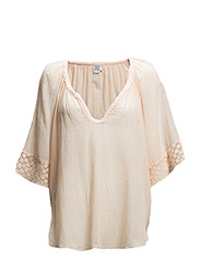 BLOUSE W LACE TRIM - FLAMINGO
