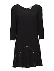 WOVEN DRESS WITH STONES - BLACK