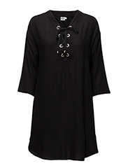 TUNIC WITH TIE LACES - BLACK