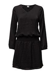 DRESS W SMOCK WAISTBAND - BLACK