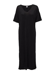JERSEY DRESS W.SLITS - BLACK