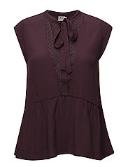 TOP W BINDING BOW - WINE