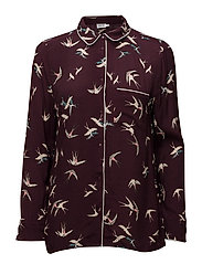 BIRD PRINT SHIRT - WINE