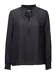 HIGH NECK BLOUSE W SMOCK - PHANTOM