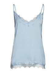 SINGLET TOP W. LACE - C.BLUE