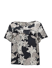 LARGE FLOWER PRINTED TOP - BL DEEP
