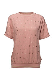METALLIC CHERRY PRINT BLOUSE - B. ROSE