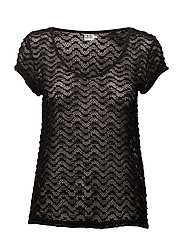 T-SHIRT W. POINTELLE PATTERN - BLACK