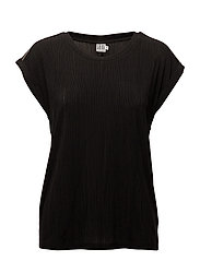 PLEATED JERSEY W.BEADS - BLACK
