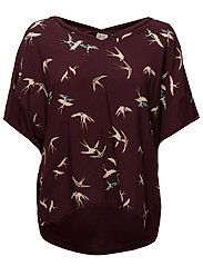 T-SHIRT W.BIRD PRINT - WINE