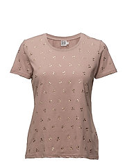 CHERRY METALLIC PRINT T-SHIRT - FAWN