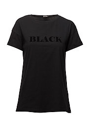 T-SHIRT W. FLOCK PRINT - BLACK