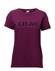 T-SHIRT W. FLOCK PRINT - PURPLE