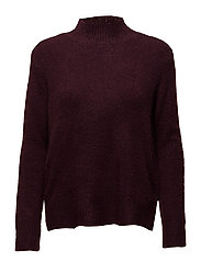 KNIT BLOUSE WITH SLITS - WINE M