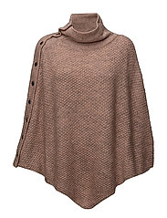 KNIT PONCHO W BUTTONS - FAWNM