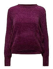 KNIT BLOUSE W. BALLON SL. - PURPLE