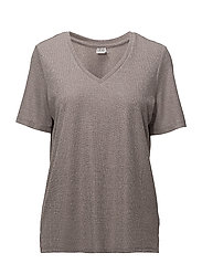 SHIMMER KNIT TOP W. SLITS - PALE LILAC