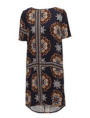 KALEIDOSCOPE PRINT/SOLID DRESS - CHERRY M.