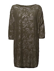 FOIL PRINTED DRESS - ARMYGREEN