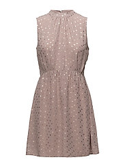 FOIL DOTTED DRESS - FAWN