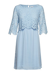 PARTY DRESS W LACE - C.BLUE