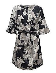 LARGE FLOWER PRINTED DRESS - BL DEEP