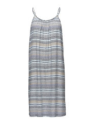 WAVED STRIPES P STRAP DRESS - P.BLUE