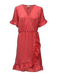 WRAP DRESS W RUFFLE - CAYENNE