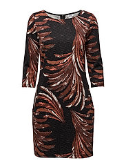 FEATHER PRINTED JERSEY DRESS - BLACK