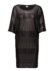 FOIL PRINTED RIB DRESS - BLACK